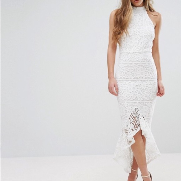 cb0362dadaf6 Missguided Dresses | Lace High Neck Fishtail Midi Nwt | Poshmark